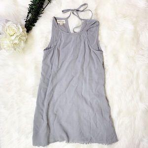 Anthro Cloth & Stone Gray Fringed Hem Halter Dress